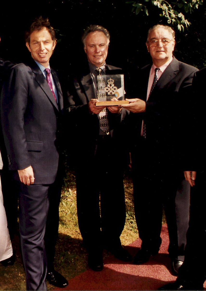 Tony Blair presents the Queen's Award for Exports in 1999, to Mike Sands (Group MD) and Prof Geoff Lancaster (Group Chairman)